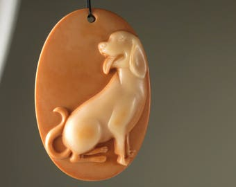 Extremely Exquisite ~ Machine Carved Large Red Malachite Dog Pendant ~ 60mmx 40mm x 10mm - B8327
