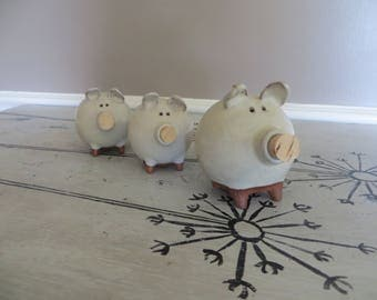 Morgan Pottery Set of 3 Terra Cotta Pottery Pig Shakers Salt and Pepper Shakers Colorado