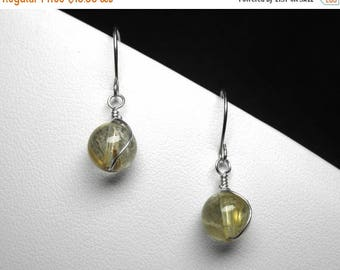 Golden Rutilated Quartz Earrings in Silver, 8 mm