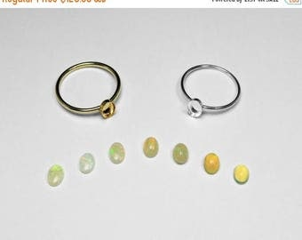 Choice of Australian or Ethiopian Opal Bezel Ring in Silver or Gold, 6 x 4 mm