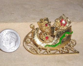 Signed Mylu Vintage Christmas Sleigh With Presents Brooch With Red Rhinestones And Green Enamel 1960's Jewelry 11173