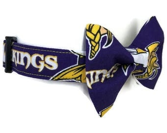 Minnesota Vikings Purple Gold Bow Tie Dog Collar All Sizes