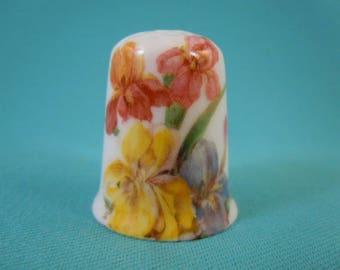 Thimble Bone China with Iris Flowers