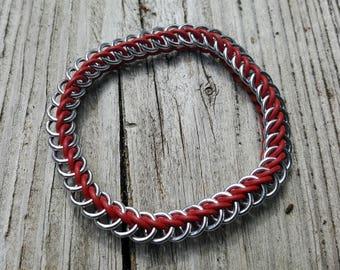 Dark Red Half Persian 3-in-1 Rubber Ring Bracelet