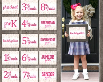 FIFTEEEN SIGNS! (Preschool - 12TH grade) Confetti Back to School Signs - First Day of School