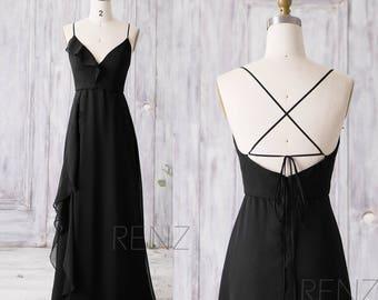 2017 Long Chiffon Bridesmaid Dress, Ruffle V Neck Wedding Dress, Spaghetti Strap Prom Dress, Black Party Dress Floor Length(Z095)