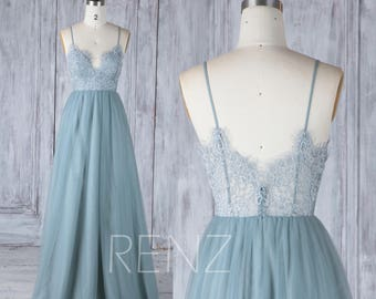Bridesmaid Dress Dusty Blue Tulle DressWedding DressLace Illusion Back Party