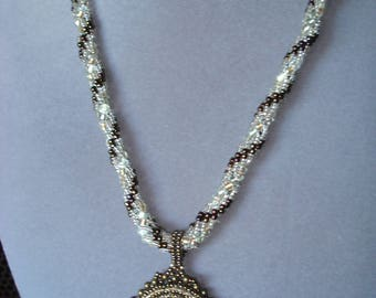 Lava Stone Goddess Cameo Beaded Necklace