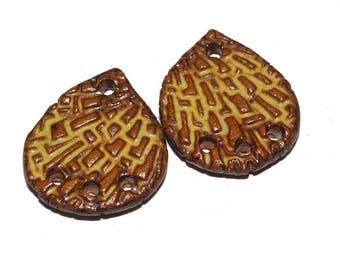 Ceramic Earrings Charms Pair Handmade Rustic Brown Gold Natural Stoneware