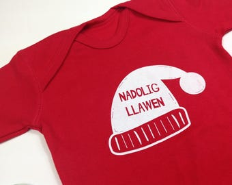 SALE Welsh Christmas Baby Clothes Red Romper Babygrow Welsh Text Nadolig Llawen White Ink Unisex