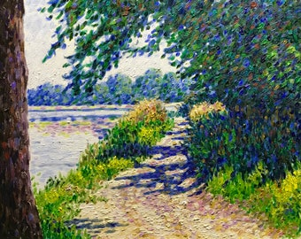 """Original Impressionist Oil Painting """"Impressions at the Lake, July"""" 16x20"""