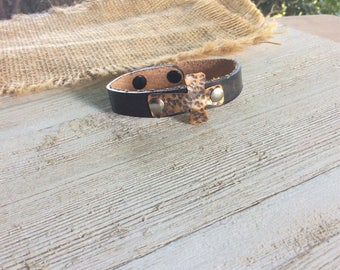 Inspirational Cuff Bracelet, Leather Cross Bracelet