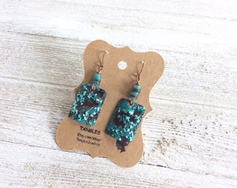 Square Verdigris Copper Earrings, Blue/Green Verdigris Earrings