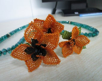 Muslim prayer beads, Islamic tasbih, bead necklace, needle lace, flowers Muslim Green Gift Wedding Tasbeeh, meditation, Orange gift for her.
