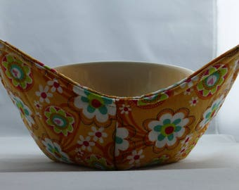 Set of 2 Bright floral print fabric Handmade Microwave Bowl Pot Holder Cozy for hot or cold foods