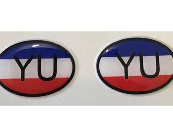 "Yugoslavia YU Domed Gel (2x) Stickers 0.8"" x 1.2"" for Laptop Tablet Book Fridge Guitar Motorcycle Helmet ToolBox Door PC Smartphone"