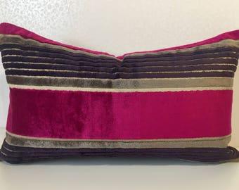 Magenta PINK pillow VELEVT cushion cover. PINK velvet stripe with eggplant Aubergine Pink velvet cushion. Osborne and Little Designer fabric