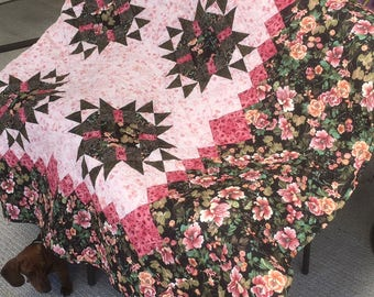 Peony Stars Queen size quilt