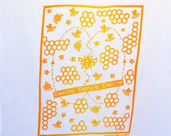 Flour Sack Dish Towel - Dance, Dance, Dance! Two-tones,Yellow and Squash