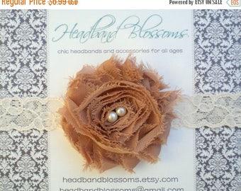 SALE Toffee Shabby Chic Frayed Chiffon Flower Lace Elastic Baby Headband - Photo Prop - Newborn Baby Toddler Girls