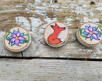Foxy Flower magnets, woodland animal, fox decor, forest animals, forest creatures, woodland creatures, whimsical decor, wood decor, magnets
