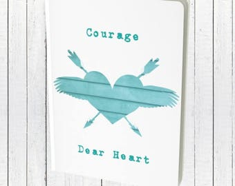 Courage Dear Heart | Blank Writing Journal Notebook | Bullet Journal Diary | Narnia Quote Inspiration Journal Prayer Journal Lined Notebook