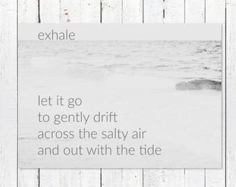 Yoga Printable Art | Digital Download | Inspiration Print + Beach Photography | Ocean Photography Print | Printable Beach Quote Art | Exhale