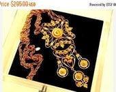 """ON SALE Vintage Designer Signed Vendome Bib Necklace 70's Couture Etruscan Maltese Cross 6"""" PENDANT 30"""" Sautoir Necklace"""