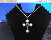 ON SALE Vintage Cross Necklace Designer Signed Sarah Coventry Mid Century Collectible Costume Jewelry 1970s
