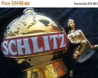 Now On Sale Schlitz Beer Decanter Bottle 1974 125th Anniversary Golden Globe Girl