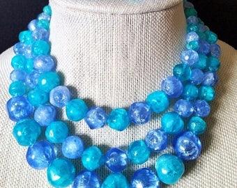 On Sale Aqua Turquoise Blue 3 Strand Necklace, Vintage Statement Jewelry Set, Demi Parure, Necklace Cluster Earring Lot, 1950's 1960's Jewel