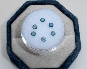 6 Natural Blue Discount Diamonds 3mm each