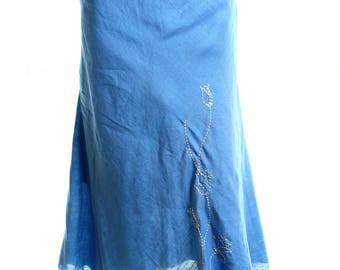Vintage My Styles Blue Floral Tulip Embroidered Stitch Linen Midi Skirt UK 12 US 10