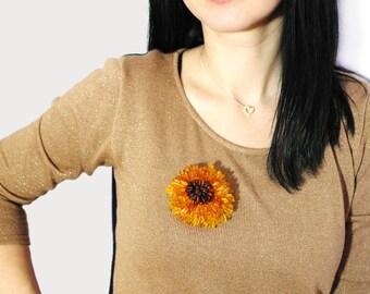 Amber Flower brooch, Handmade big amber brooch, Rose of Baltic amber beads, unique jewelry, amber jewelry, Healing amber gemstone, gift idea