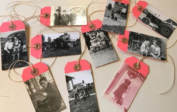 Price or Gift Tie Tags w old Photos on one side -Set of 10