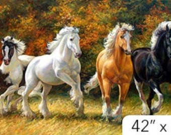 WILD AND FREE Northcott digitally printed panel cotton quilt fabric 24 by 42 in  horses running free Stampede~Dp21852-36