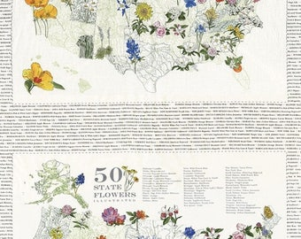 20 % off thru 11/30 Moda fabric panel STATE FLOWERSCAPES- state flowers on ivory, USA map 47000-11