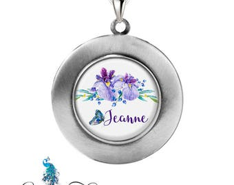 Personalized Photo Locket, Watercolor Iris Flowers Necklace Pendant, Locket Jewelry, Photographs or Custom Message Insert Included