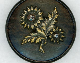 Gorgeous Antique Flower Picture Button ~ Brass Daisies or Sunflowers Pictorial on Wood with Cut Steels ~ 1-7/16 inch 37mm ~ Grammys Buttons