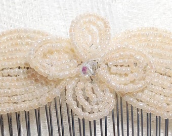 Light Peach Pearl Crystal Fascinator - French Beaded Barrette Clasp Clip Hair Comb - Pearl Collection CLO