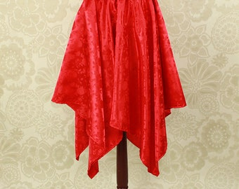 "Steampunk Fairy Red Rose Brocade Pointed Petal Skirt -- 4 Points, 35"" Point Length -- Fits up to 38"" Waist, Ready to Ship!"