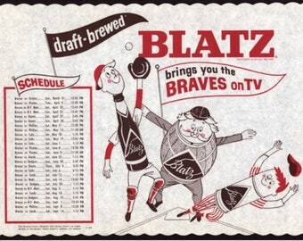 Blatz Beer ad with 1963 Milwaukee Braves tv schedule placemat