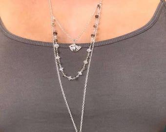 Labradorite rainbow moonstone layered necklace silver tone bird sparrow chain