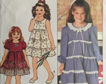 Butterick 4677, Size 5-6-6X, Children's Dress Pattern, UNCUT, Tiered Skirt, Sundress, Casual, Wedding, Formal, Vintage, Cute, Fun
