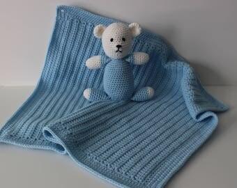 New Handmade Crochet Baby Boy Blue and White Bear Lovey / Mini Blanket - Ready to ship