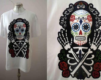 Day of The Dead White Sugar Skull T shirt White  Día de Muertos - Only one size available