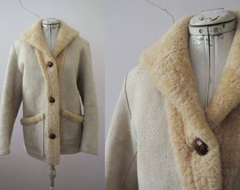 70s 80s Natural Ivory  Shearling Lambskin Fur Suede Jacket, Easy Rider Coat  Small