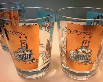 Steamboat Paddlewheel Barware Glasses Double Old Fashioned Set of 7  22k by Libbey Gold Funnel Shape Turquoise Bar Liquor Serving