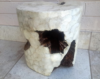 Capiz Shell Covered Acacia Wood Side Accent Table or Stool New York Paris Chic Made In Indonesia