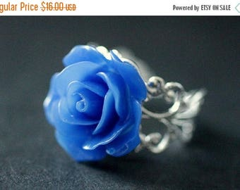 SUMMER SALE Cobalt Blue Rose Ring. Blue Flower Ring. Filigree Adjustable Ring. Flower Jewelry. Handmade Jewelry.